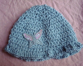 Hand-Stitched Infant Baby Boy Hat with Blue Butterfly - 106