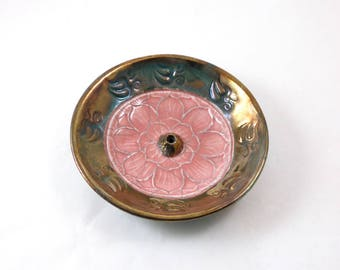 Incense Burner Lotus Aum Handmade Raku Ceramic Pottery