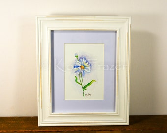 Daisy watercolor painting / ten most interesting flower series / Original watercolor / flower painting 5 x 7