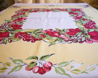 Tablecloth Vintage Print Fruit Cherries & Apples with Grapes and Pears / Retro Table Cloth
