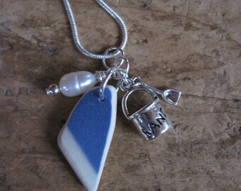 Genuine Maine seaglass pottery with pearl and sandpail charm