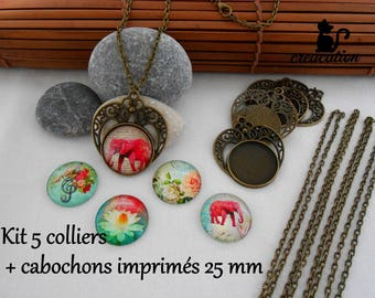 Kit 5 necklaces + cabochons 25 mm bronze color printed