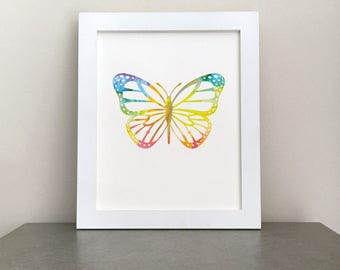 Butterfly, Printable, Watercolor, Wall Art, Nursery Print , New Mom Gift, Girls Bedroom, Rainbow Nursery, Colorful Nursery, Rainbow Baby