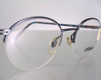 Vintage Late 80's TITAN Blue and Turquoise Titanium Half Frame Semi Rimless Women's Colorful Eyeglass Frames Old Stock New NOS Unworn Size M