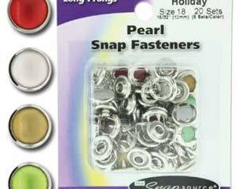 Snap Size 18 Fasteners, Capped Prong Pearl Mix Holiday Colors - 20 Sets