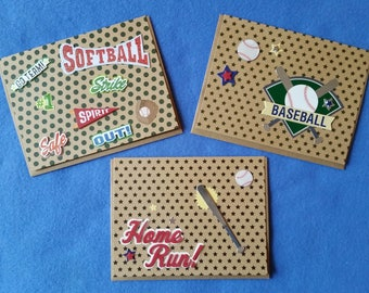 Softball, Baseball, or Home Run Handmade Blank Greeting Card, recycled kraft paper with 3D stickers