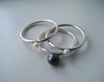 Pearl stacking rings:  Handmade, sterling silver
