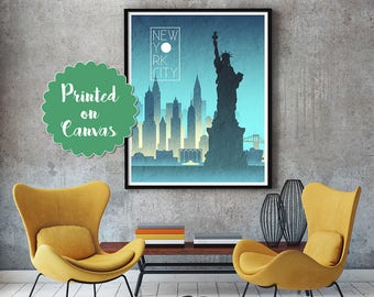 NEW YORK CITY Night Skyline Art New York Art New York Skyline New York skyline New York wall art New York map print