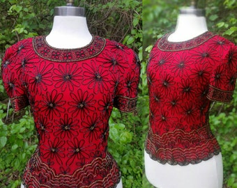 80s Beaded Blouse Red Silk M