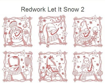 Redwork Let It Snow 2 Snowman Winter Seasons Quilt Machine Embroidery Designs Pack Instant Download 4x4 5x5 6x6 hoop 10 designs APE1610