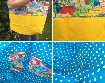 Parasols and yellow faux leather bag