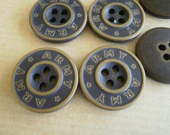 """Set of 2 round buttons, plastic, gray, inscription """"army"""" laitonnee, 20 mm"""