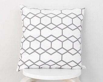 Gray Hexagon line pillow cover, Gray line geometric pillow case
