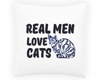 Real Man Loves Cat Pillow Cushion Cover aa140p