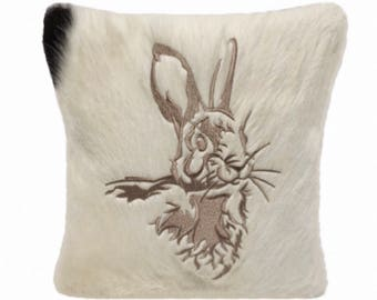 Woodland Nursery White Bunny Rabbit Hare Silhouette Woodland Animals Fur Throw Pillow Cowhide Leather Pillow Farmhouse Rustic Home Decor