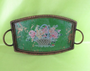 Small Tray With Handle, VINTAGE And Rare Antique Picture Under Glass Flowers Bouquet, vintage Wicker Handles