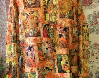 Colorful vintage art print seventies shirt