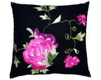 Embroidered pillow, decorative pillow, cushion cover, floral rose fabric, throw pillow, flowers, home accessories, home decor, boho cushion