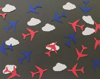 White Cloud and Red and Blue Airplane Confetti - Time Flies Birthday Party Decorations - Airplane Decorations - Airplane Birthday Decor