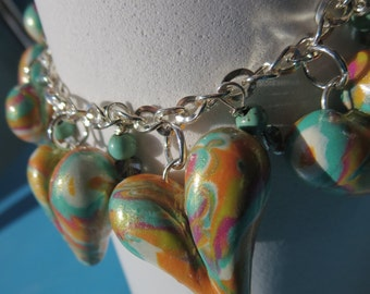 Free Shipping. Puffy Heart Charm Bracelet. LISE. Peach. Pink. Lime.Turquoise Green. Whites. Polymer Clay and Silver With Dragon Fly Clasp