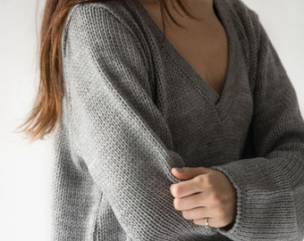 the Slouchy V in Grey -knitted sweater (loose fit V neck elasticated cuffs hem pullover)