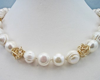 Pearl and gold fill knot necklace