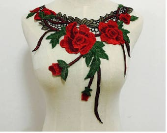 Applied sewing red flowers