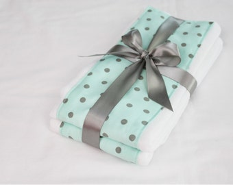 Aqua and Grey Polka Dot Burp Cloths - Set of 2