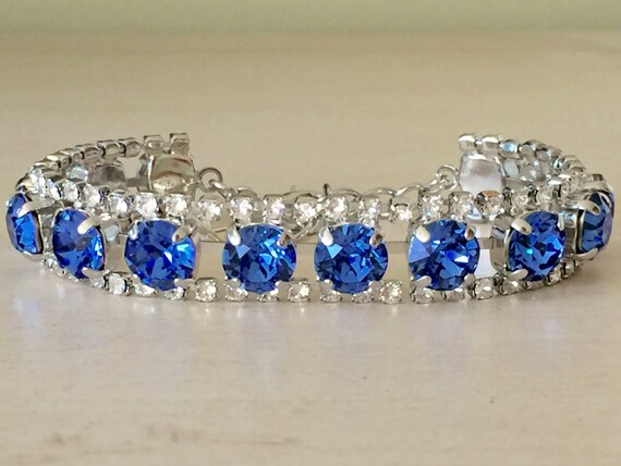 Sapphire & Clear Crystal Bracelet