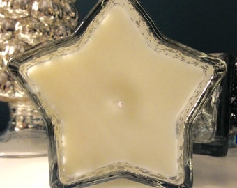 Mercury Glass Silver Star Candle Holder Fragranced Scented Candle, Soy Wax, Handmade, 150ml Designer Bespoke Candle