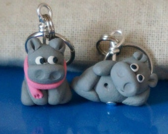 Hippopotamus Hippo Polymer Clay Stitch Markers (pod of 4 Miniature Sculpted Animal Knit, Crochet Accessories)
