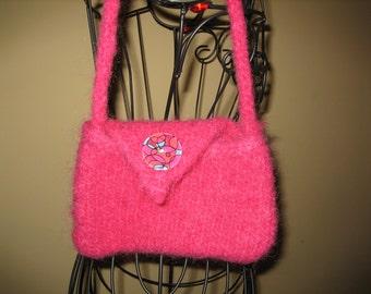 Rasberry Felted Mini Bag, Rasberry Felted Bag, Felted Pink Purse, Handmade, Pink Mini Bag