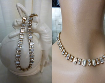 Baguette Clear Rhinestone Necklace, Exquisite Design, Made In Austria, Prong Set, Bride, Special Occasion, Lovely, Vintage