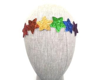 Rainbow Glitter Star Headband
