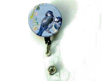 Floral Blue Birds Image Retractable ID Name Holder Badge Reel Clip On Nurse