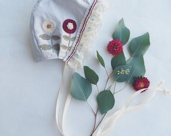 Dahlia-Embroidered bonnet // baby bonnet/cotton bonnet. 12-18 MONTHS