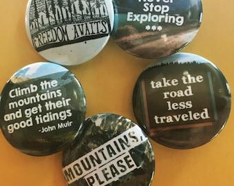 Mountain Explorer Five Button Set, John Muir Pinback Button Sale, Discount Bulk Button Badges Pins Boho Buttons Backroads, Forest Pins