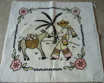 1950s Donkey and Man in Sombrero Pillow Cover