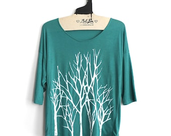 SALE Small - Teal 3/4 Sleeve Dolman Top with Branch Trees Screen Print