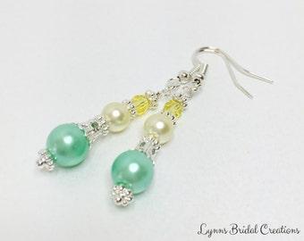 Mint Green Earrings Yellow Crystal Earrings Bridesmaid Gift Pearl Earrings Wedding Jewelry Lemon Earrings Jewelry Set Mint Green Bridesmaid