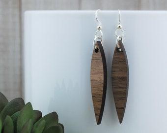 Wood Earrings - Wooden Thin Teardrop Walnut Earrings