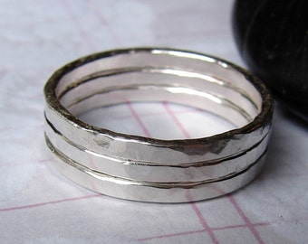 Sterling Silver Stacking Rings, Forged Stackable Rings, Hammered Thin Slim Sterling Silver Ring Bands
