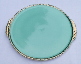 Salins, France, 40 years, green and gold vintage cake dish.
