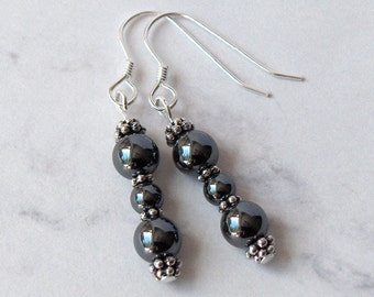 Hematite Bead Dangle Earrings Pewter Bead Accents, Sterling Silver Earwires - Metaphysical Grounding and Healing Energy