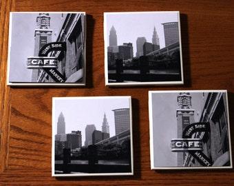 Cleveland Skyline & West Side Market Coaster // Ceramic Coasters Set of 4// Home Decor//Black and White Photography// Cleveland Home Decor