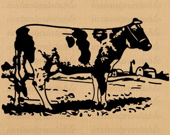 Cow digital image, instant download, printable iron on fabric transfer, downloadable images, clip art, scrapbooking - no. 211