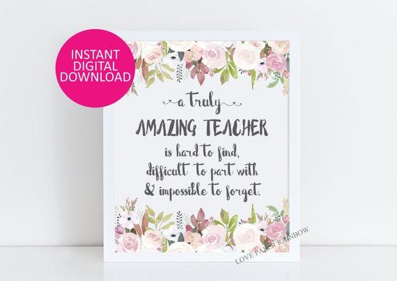 teacher Gift, An amazing teacher is hard to find, Office Decor, Printable teacher Gift, retirement Custom Quote Print, Gift for teacher