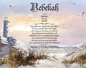 Lighthouse on the Beach - Pesonalized Name Meaning Print