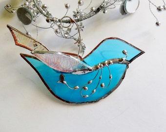 Stained Glass Light Blue Bird The Happy Bluebird Ornament Home Decor Suncatcher