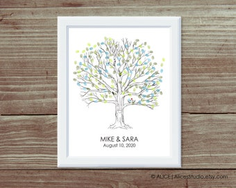 Custom Wedding Guest book Fingerprint Tree Print - Guest Book Alternative Poster - Fingerprints & Signatures - Canvas or Paper